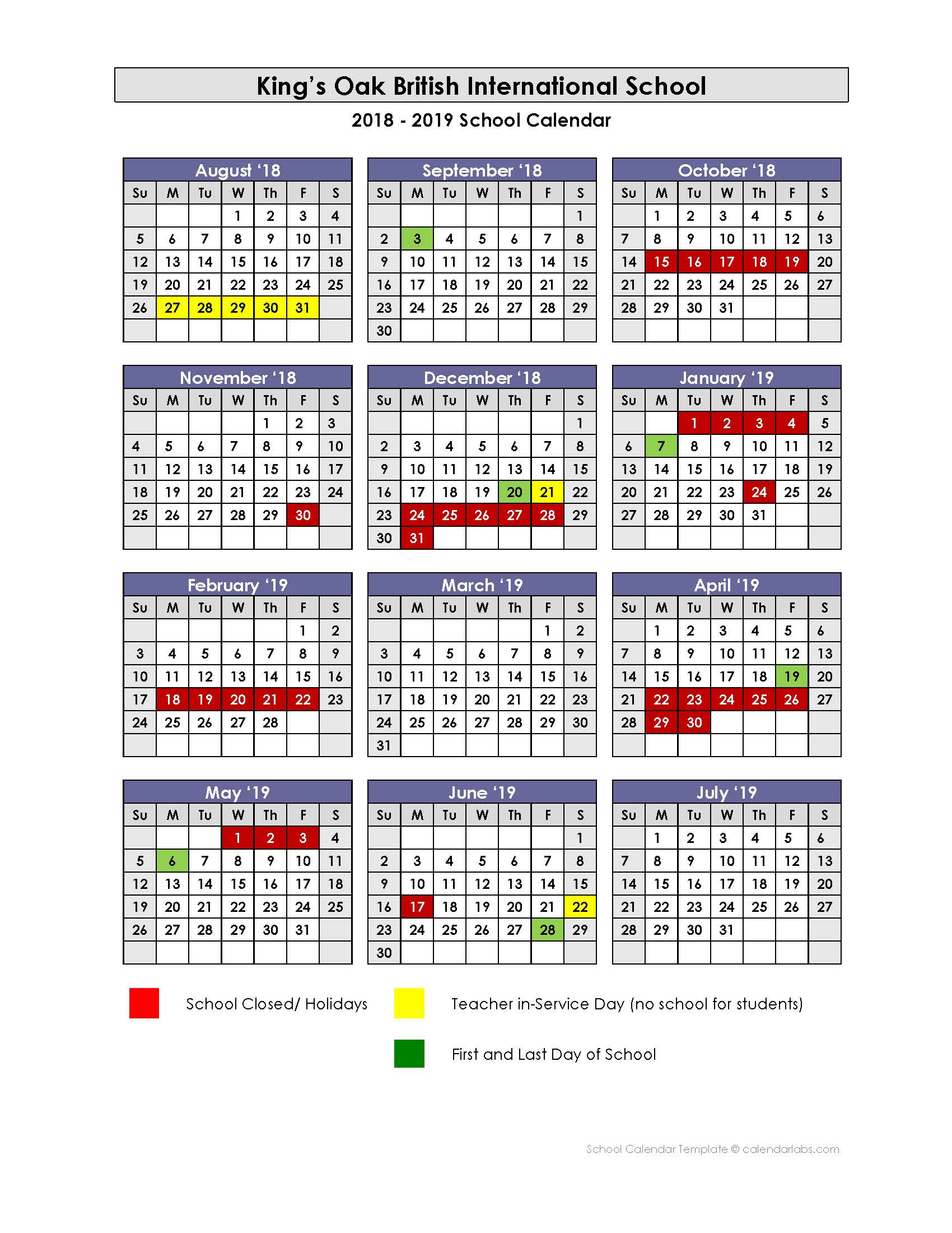 British Calendar 2019 Academic Calendar | King's Oak British International School